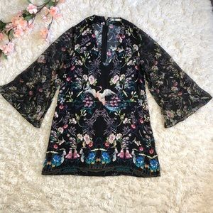 Alice + Olivia bell sleeve floral tunic dress
